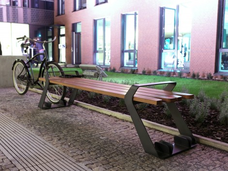 Integral Park Bench with Bike Stand