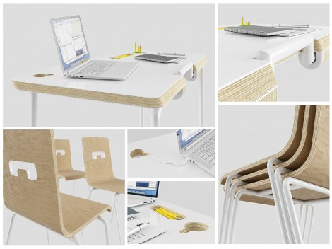 Fold Desk school furniture set