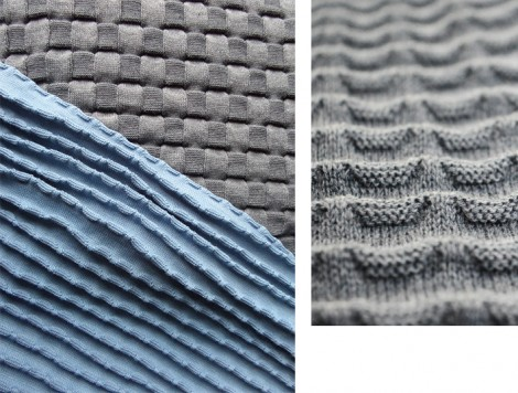 Collection of woven and knitted fabrics inspired by Polish modernist architecture and typography